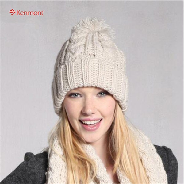 6ad940f6d69 Kenmont New Arrival Brand Winter Hat 100% Hand Knitted Knit Beanie Hat Wool  Acrylic Earflap Cap 1225