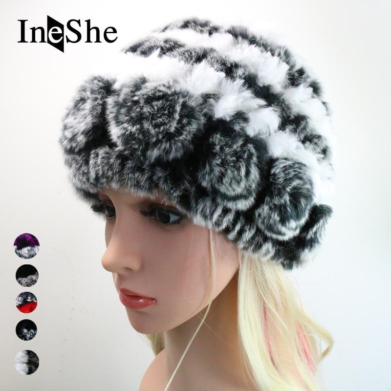 ce32036298b IneShe Winter Fur Hat Rabbit Women Female Warm Fashion Lady Beanie Caps  Handmade Knitted Hats Headwear Gorro Girls Fur Cap M3006