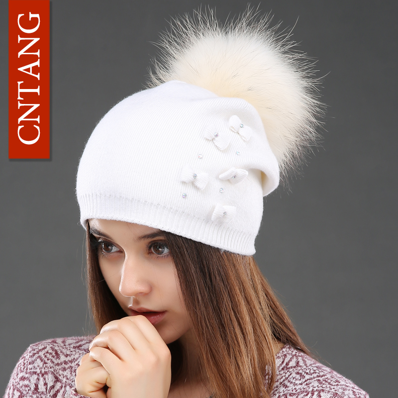 36677f2747c8b CNTANG Cute Women Knitted Bow Wool Hats Beanies With Real Natural Raccoon  Fur Pompom Caps Fashion Winter Warm Hat For Female – CoolGiftsshop.com