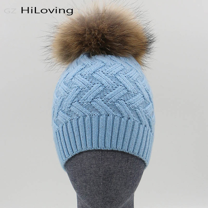Wool Beanie Hat With Raccoon Pom Pom
