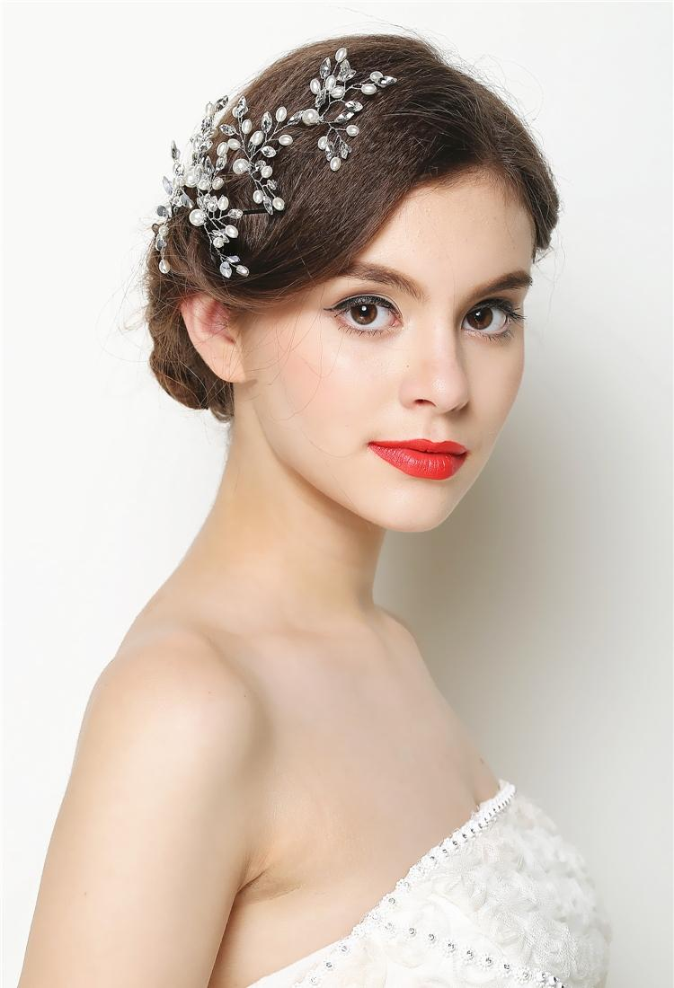 White Bridal Wedding Crystal Flower Hair Pins Elegant Women Hair Accessories NEW