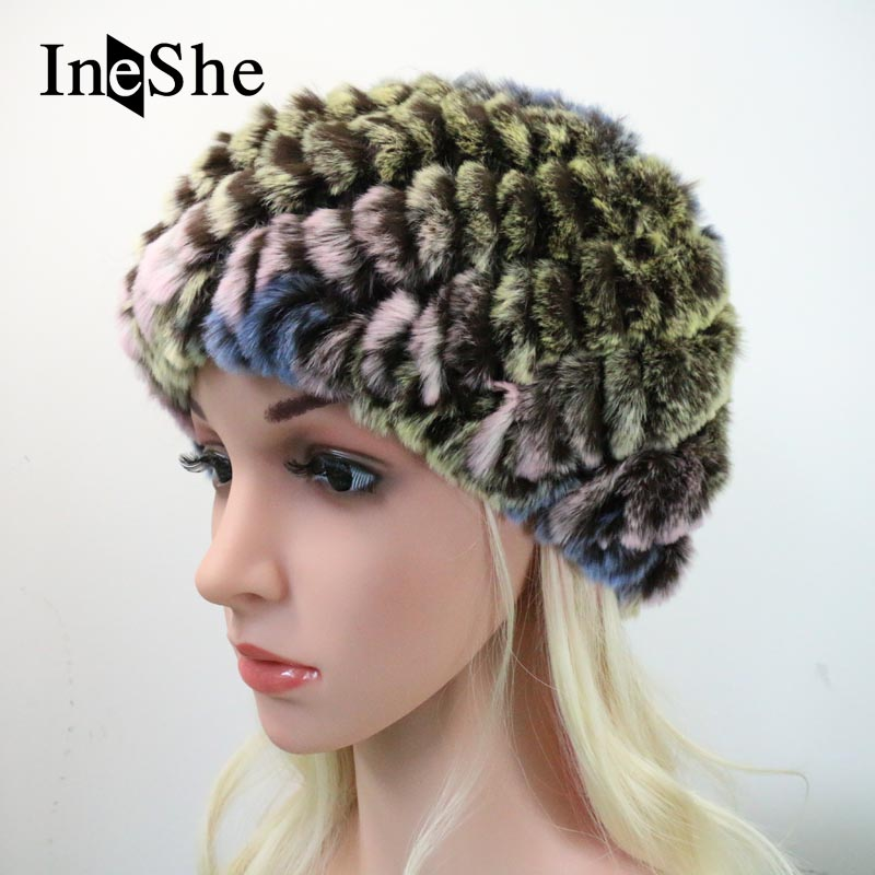 IneShe Women s Fur Beanies Knitted Pineapple Hat Natural Rex Rabbit Fur Hats  Beanies For Women Fashion Female Winter Caps M3004 – CoolGiftsshop.com 5f7a47b6fa7