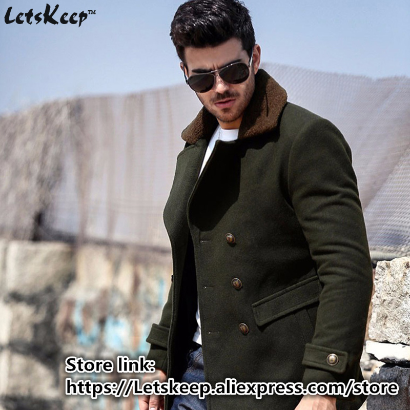 9bf2cba2f7c Letskeep 2016 New Winter Wool long coat men Army green Thick trench coat  Jackets men's fur collar Outerwear Overcoats 3XL,MA242