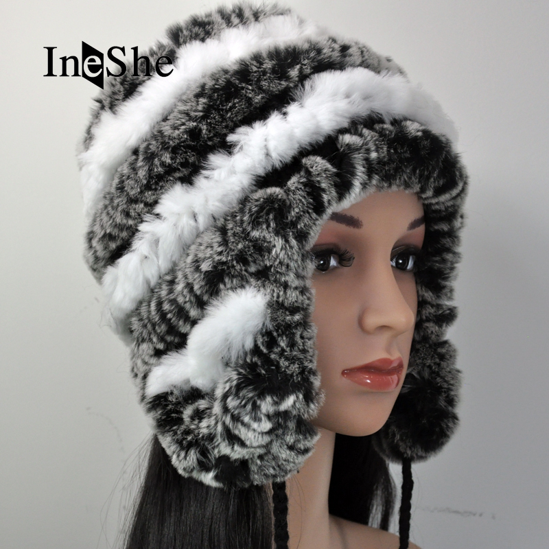 IneShe Women Genuine Fur Hats Caps Knitting Rex Rabbit Fur Russian Hat  Natural Stripe Fur Hats Female Winter Warm Beanies M3016 – CoolGiftsshop.com 91aaa104b1d