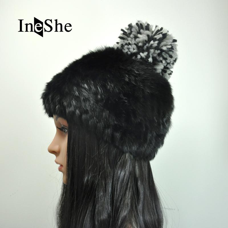 d475036e7752e IneShe Women Genuine Fur Hats Caps Knitting Rex Rabbit Fur Russian Hat  Natural Stripe Fur Hats Female Winter Warm Beanies M3009