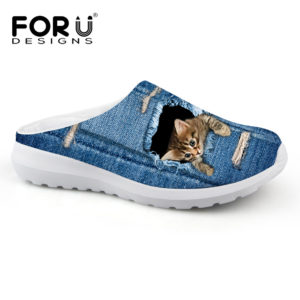 FORUDESIGNS Cute Pet Cat Denim Printed Women Sandals Light Weight Slip-on  Summer Beach Water Shoes Female Loafers Breathable bd5f0573fbdc